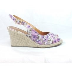 Cara Purple Floral Peep-Toe Wedge Sandal
