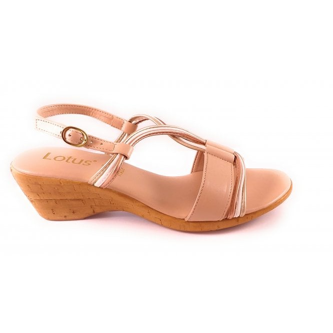 Lotus Cararra Beige Open-Toe Wedge Sandal