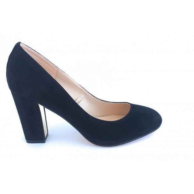 Lotus Carla Black Microfibre Court Shoe