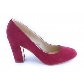 Carla Dark Red Microfibre Court Shoe