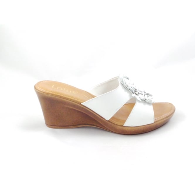 a903741a9e0f Lotus Cassel White Wedge Mule Sandal with Leather Flowers - Lotus from  size4footwear.com UK
