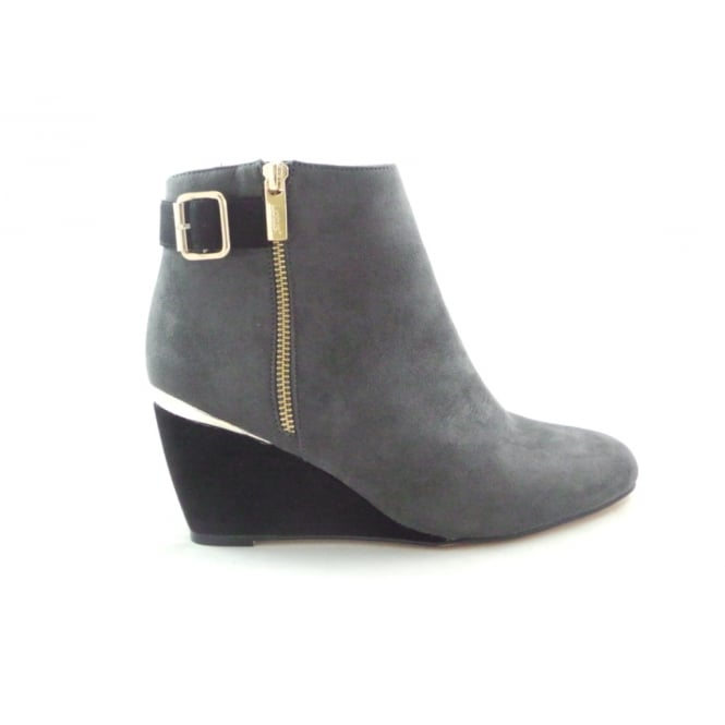 Lotus Cassia 40379 Grey and Black Microfibre Wedge Ankle Boot