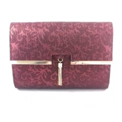 Castor Bordo Print Clutch Bag