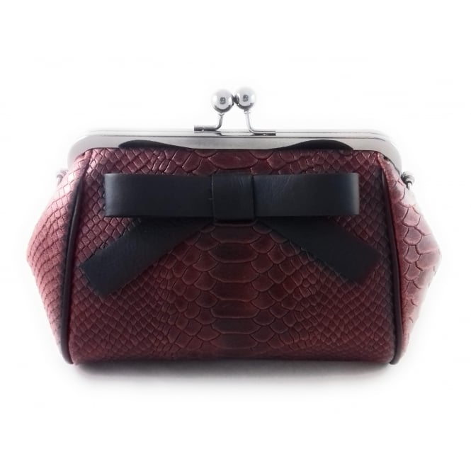 Lotus Chandon Red Leather Reptile Print Shoulder Bag