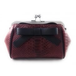 Chandon Red Leather Reptile Print Shoulder Bag