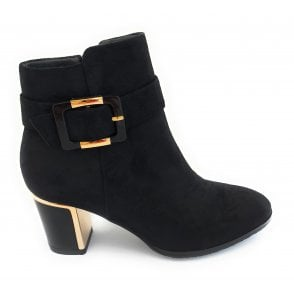 Charlotte Black Faux Suede Ankle Boots