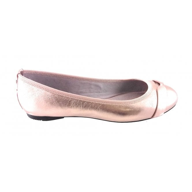 Butterfly Twists Charlotte Gold Leather Ballerina Pump