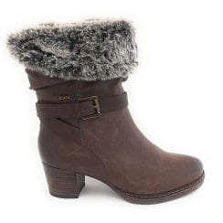 Charmaine Brown Heeled Mid-Calf Boot
