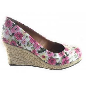 Cherie Pink Floral Wedge Espadrille Court Shoe