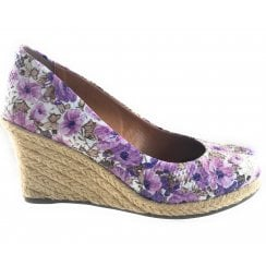 Cherie Purple Floral Wedge Espadrille Court Shoe