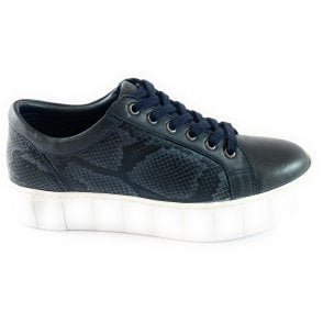 Chicago Navy Leather Lace-Up Casual Shoe