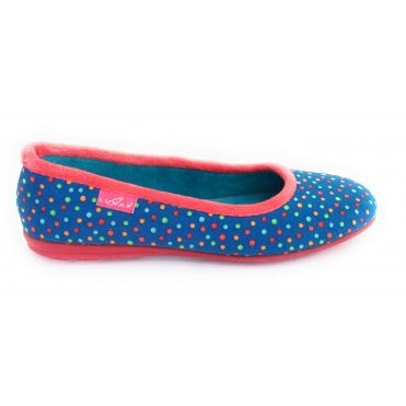 Cinnamon Blue Spotty Pump Slipper