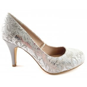 Clancy Silver Floral Print Court Shoe
