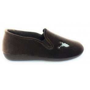Clarence Brown Velour Slippers