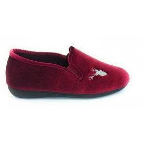 Clarence Burgundy Velour Slippers