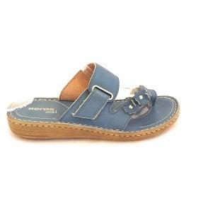 Clelia D185 Dark Blue Leather Toe-Ring Mule Sandal