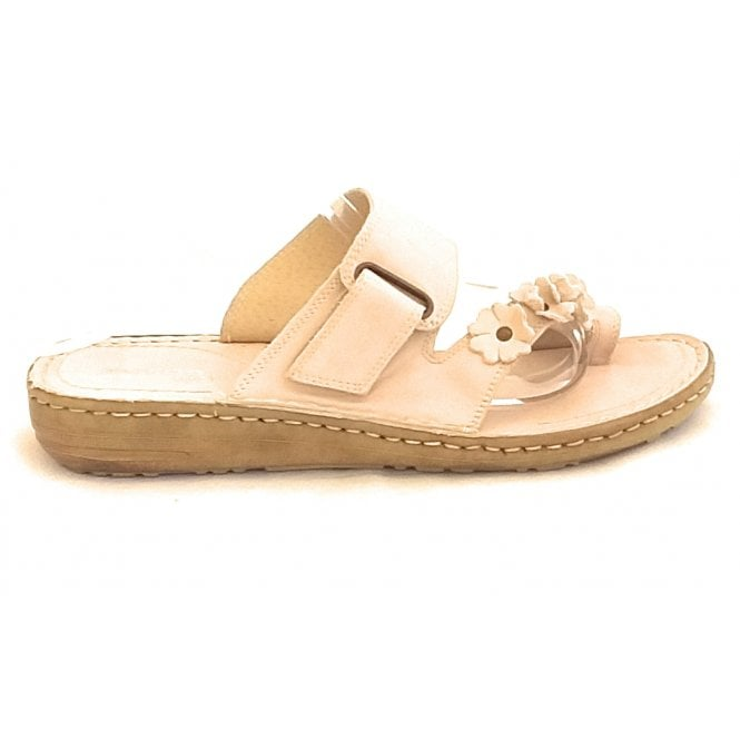 Aeros Clelia D185 Nude Leather Toe-Ring Mule Sandal