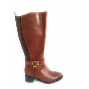 Cognac Lajas Leather Knee High Boots