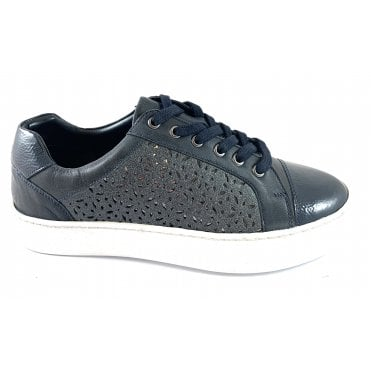Cologne Navy Leather Lace-Up Casual Shoe