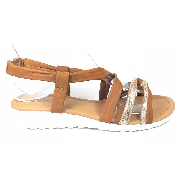Lotus Cordoba Tan and Gold Leather Sandals