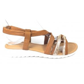 Cordoba Tan and Gold Leather Sandals