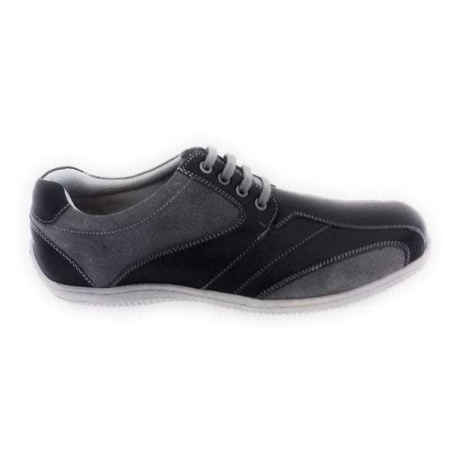 Lotus Corrigan Black Leather and Grey Suede Casual Shoe