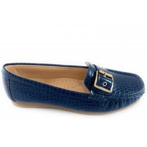 Cory Navy Croc Print Loafer