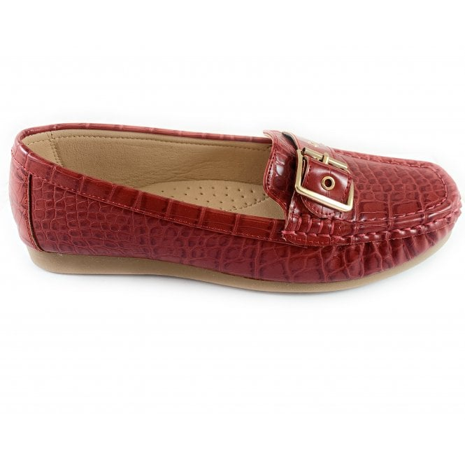 Lotus Cory Red Croc Print Loafer
