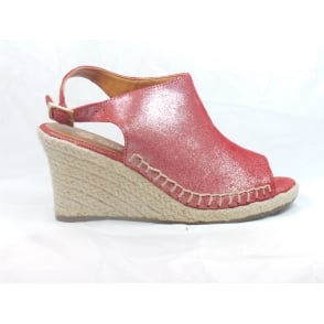 Cosmos Red Leather Peep-Toe Wedge Sandal