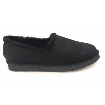 Cosy Black Shimmer Suede Slipper