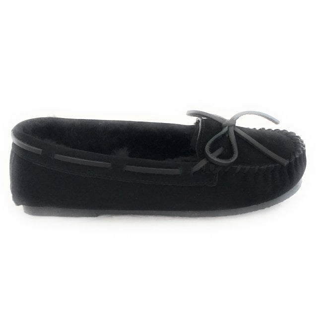 Ara Cosy Black Suede and Lambswool Moccasin Slipper