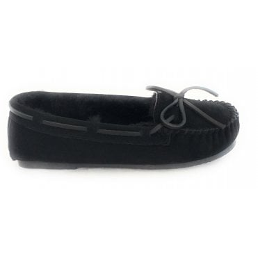 Cosy Black Suede and Lambswool Moccasin Slipper