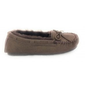 Cosy Brown Metallic Suede and Lambswool Moccasin Slipper