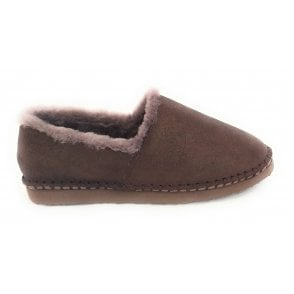 Cosy Brown Shimmer Suede Slipper