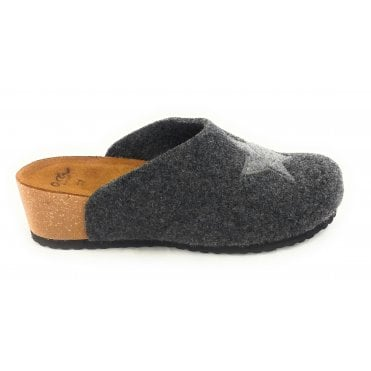 Cosy Dark Grey Felt Mule Slipper