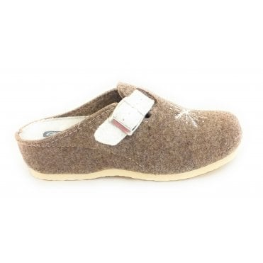 Cosy Taupe and Off-White Felt Mule Slipper