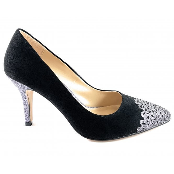 Lotus Crawford Black and Pewter Glitz Court Shoe
