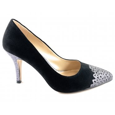 Crawford Black and Pewter Glitz Court Shoe