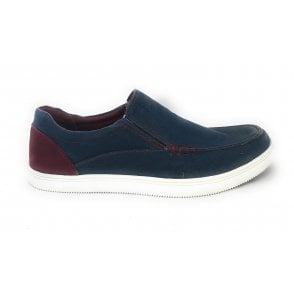 Crossley Denim Blue Slip On Men's Canvas Shoe
