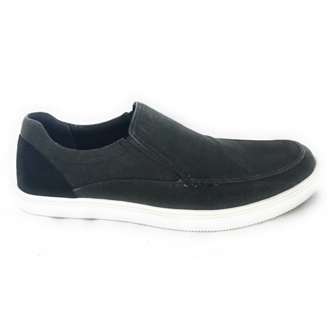 Lotus Crossley Grey Slip On Men's Canvas Shoe