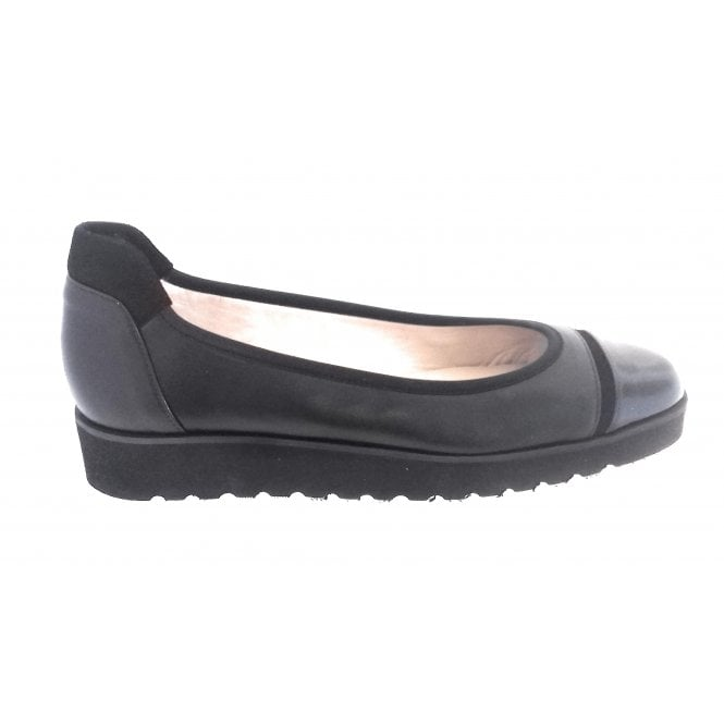 HB Cute Black Leather Ballerina Wedge Shoe
