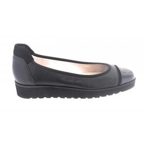 Cute Black Leather Ballerina Wedge Shoe