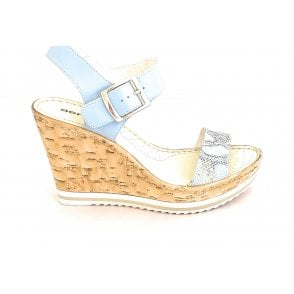 D114 Blue Leather Wedge Sandal