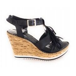 D117 Black Leather Wedge Sandal