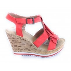 D117 Red Leather Wedge Sandal