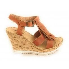 D117 Tan Leather Wedge Sandal