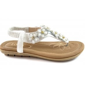 Daisy White Toe-Post Sandal