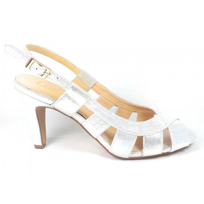Lotus Dakota Silver Peep-Toe  Sling-back Shoes