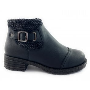 Dalia Black Leather Ankle Boot