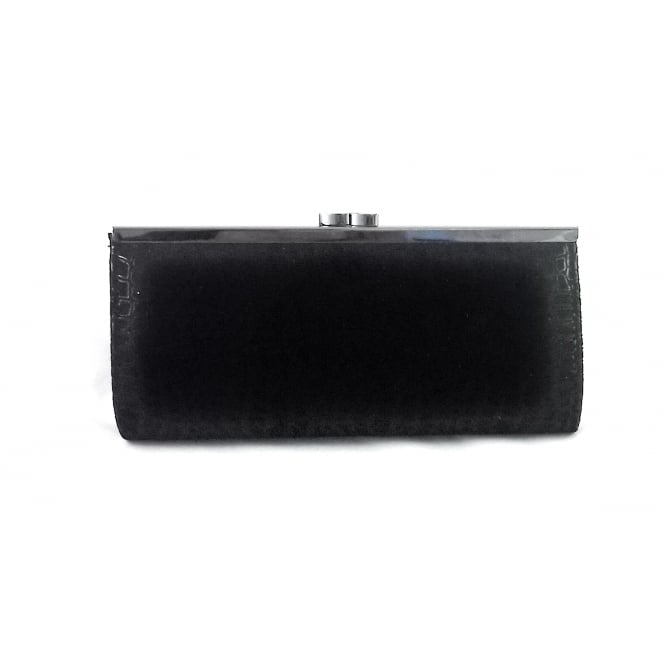 Lotus Dandy Black Reptile Print Clutch Bag